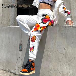 Sweetown 나비 패턴 헐렁한 여성 피해자 스웨트 팬츠 캐주얼 탄성 높은 허리 하렘 바지 여성 힙합 스트리트 화이트 T200622