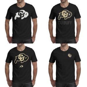 Mens baskı Colorado Buffaloes futbol logosu siyah t shirt Komik Sloganı Bant Gömlek Kentsel Kalp Leopar Baskı altın gri