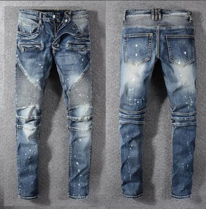 Mens Fold Skinny Painted Jeans Modedesigner gewaschen Plissee Panelled Zipper Slim Fit Motorrad Biker Hip Hop Denim Pants 1077