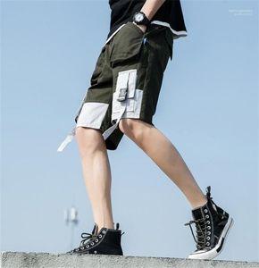 Mens-Sommer-Cargo-Shorts beiläufige lose Taschen Designer Hälfte Länge Shorts Fest Farbe Hiphop-Kleidung