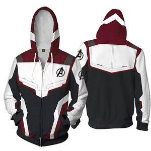 The Avengers 4 Endgame Quantum Realm Capitán Marvel Cosplay Sudaderas con capucha Hombres Cremallera Sudadera con capucha Chaqueta de poliéster