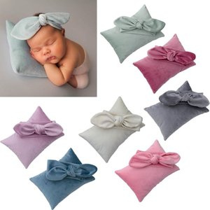 2Pcs / Set Recém-nascido Fotografia Prop infantil Atire Headband + Pillow Set estúdio Photo