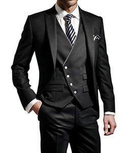 잘 생긴 신랑 스미스 피크 옷깃 신랑 턱시도 검은 망 웨딩 드레스 남자 자켓 블레이저 댄스 저녁 3 조각 정장 (자켓 + 바지 + 조끼)