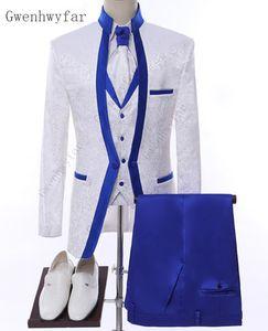 Gwenhwyfar Blanco Royal Blue Rim Etapa Ropa para hombres Traje conjunto Trajes de boda para hombre Traje Novio Esmoquin Formal (Chaqueta + pantalones + chaleco)