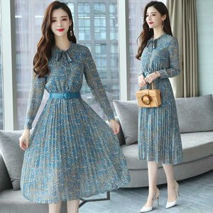 Summer Women's Vintage Chiffon Flower Midi Dress Large Size Maxi 2020 New Bohemian Dress Elegant Long Sleeve A-Line
