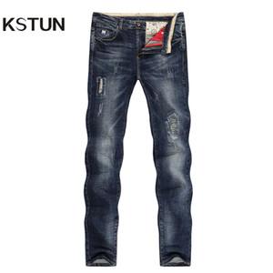 KSTUN Jeans déchirés Homme Automne et Hiver Bleu Foncé Stretch Slim Straight Heavyweight Streetwear Moto Biker Jeans