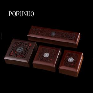POFUNUO коробка ювелирных изделий деревянные четки браслет браслет коробка ожерелье кольцо из цельного дерева подарочной упаковки пустой