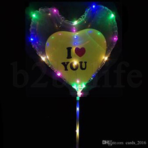 Heart Bobo Balloon With 3M Led Strip Wire Luminous Led Balloons wedding birthday party Decoration Toy Colored Lighting