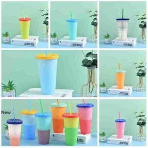 700ML di temperatura magica del cambiamento di colore tazze colorate fredda acqua di colore Modifica bottiglie Bicchieri tazza di caffè tazza d'acqua con cannucce ZZA2344
