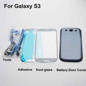 قطع غيار استبدال الإسكان الكامل لـ Samsung Galaxy S3 i9300 غطاء البطارية الخلفي + زجاج أمامي + أدوات + لاصق