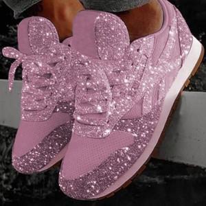 2019 Automne Chaussures Designer Femmes Paillettes lacets Chaussures de sport plateforme Low Top cours Formateurs Chaussures de luxe Casual Taille 35-43