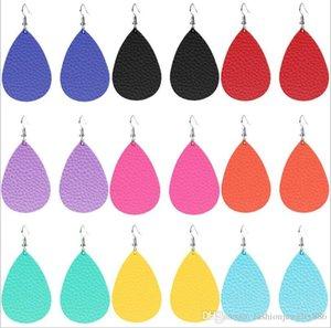 Fashion PU Leather Teardrop Earrings Water Drop Dangle Earrings For Women Lady Jewelry Gift