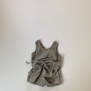 2020 Yaz Çocuk Kız Boys 2 adet Setleri Kore Keten Çocuklar Vestshorts Clothings Setleri