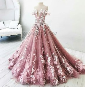 Charming Pink Quinceanera Dresses 2019 Off the Shoulder Floor Length Ball Gown 3D-Floral Zipper Back sweet 16 girl dress princess dress