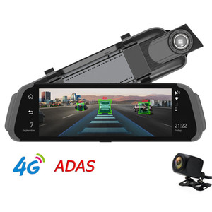 "10 ""IPS Full Mirror 차량용 DVR 4G 안드로이드 GPS 네비게이터 ADAS FHD 1080P RearView 미러 카메라 듀얼 렌즈 블루투스 G- 센서 온라인 추적 APP"
