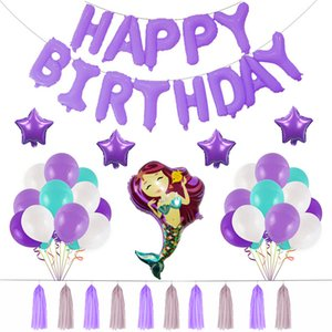 Palloncini a sirena in alluminio con film Palloncini Happy Birthday English Letter Balloon Suit Viola Blu Bianco Decorazione Festival Nuovo arrivo 22 58zk L1