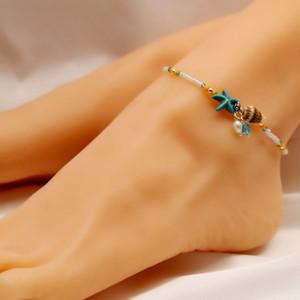 Braccialetti alla caviglia conchiglia di stelle marine conchiglia da spiaggia Boho Cavigliere con ciondoli con perle per donna Sandali a piedi nudi perline Bracciale alla caviglia Gioielli estivi ai piedi
