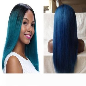 1B blue Dark Root straight Ombre Human hair Wigs ombre blue Lace Wig on sale