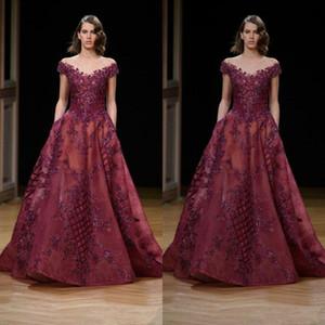Apliques Vintage Borgoña Vestidos de noche Largo Encaje Cristal 2019 Ziad Nakad Dubai Árabe Vestidos de baile de talla especial Vestido de ocasión especial