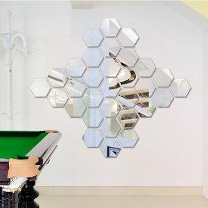 12Pcs Set Hexagonal 3D Mirror Wall Stickers Restaurant Aisle Floor Personality Decorative Mirror Paste Living Room Sticker