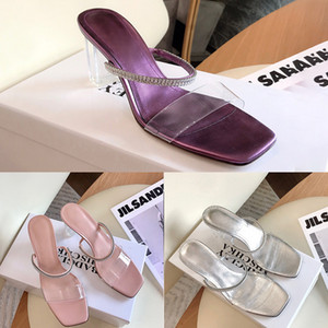 Designer Womens Slippers Luxury Purple Silver Pink Crystal Heel PVC High Heels Summer Ashion Top Quality With Box Size 35-40