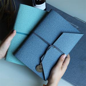 livros mão A5 vintage colorido protable de folhas soltas livro de mão simples destacável notebook literária Algodão e linho PU couro macio diário A07