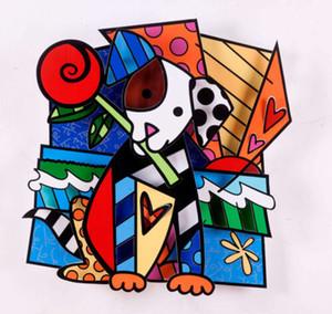 """""""Köpek Bit bir çiçek"""" Handpainted HD Baskı Wall Art Kanvas Pictures 191031 Tuval Duvar Dekor On Romero Britto Karikatür Yağlıboya Resim"""