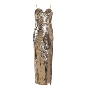 Europe and the United States spring and summer new foreign trade women's gold sequin evening dress MAXI long sling Dress + suit