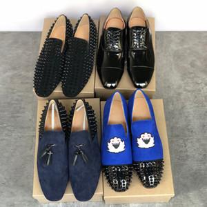 مصمم أحذية أسفل أحمر أحذية Greggo Orlato شقة اللباس الهندباء المسامير حذاء أسود براءات الاختراع والجلود المخملية البحرية متعطل حذاء حزب
