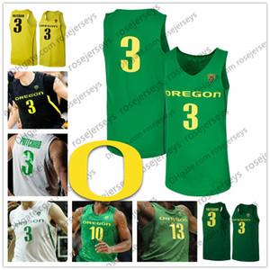 Individuelle Oregon Ducks 2020 Basketball Apple-Grün, Gelb, Schwarz Weiß 3 Pritchard Payton 32 Anthony Mathis 10 Shakur Juiston 1 Bol Jersey