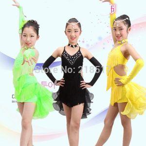 فتيات جدد S-XXL Halter Rhinestone Latin Dance Dress Ballroom Close Samba tango dress for kid Latin Girl dancewear
