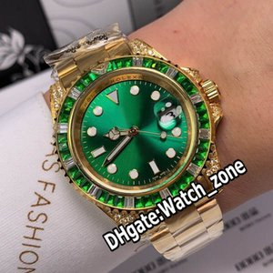 Новая дата Sub желтый золотой корпус 116610LV-97200 116610 автоматические мужские часы зеленый циферблат зеленый бриллиантовый безель Стальной браслет часы Watch_Zone