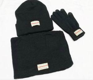 New Fashion brand Hat scarf gloves three-piece Hat For Men Beanies Women leisure Warm Cap Unisex Elasticity Knit Beanie Hats Free Shipping