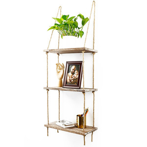 Wall Swing Storage Rosfes Wood Hanging Shelf Rope Organizer Rack Wall Decor Style Home Decoration