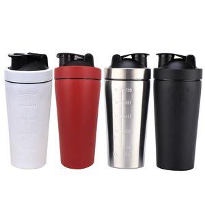 Acier inoxydable 304 Protéine Shaker Cup 4 Couleurs Gym Fitness Sports Cup Grande Capacité Milkshake Grand Diamètre Mesure Tasse BH0573 TQQ