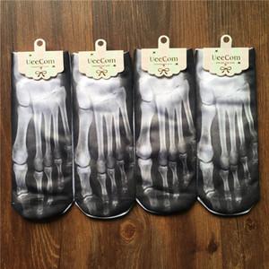 1 Paar Mode Männer Frauen 3D gedruckt Lustige Socken Schweinefleisch Knochen Lässige Halloween kreative kurze Low Cut Boots-Socken Hausschuhe
