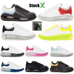 Crystle Sole Yastık Gerçek Deri Vintage Stilist Sneakers Moda Üçlü Siyah Beyaz Altın Platformu Dantel-up Günlük Ayakkabılar 36-45