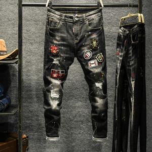 2020 Jogger sport noir Jeans pour hommes Vêtements taille élastique Jean Pantalons Pantalons Pantalones 28-36