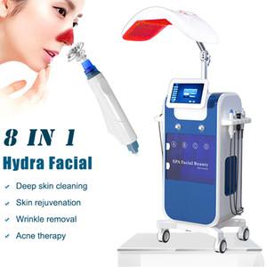 8 in 1 richieste Hydro acqua macchina microdermoabrasione facciale Hydra aerografo ossigeno facciale idro dermoabrasione condotto macchina terapia della luce