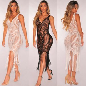 New Women Bodycon Lace Tassel Cover Up White Black Dress Ladies Sleeveless Bikini Hollow Swimwear Party Beach Sundress Beachwear