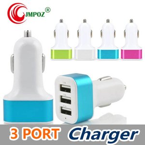 3 USB port universal metal car charger 5V 2.1A colorful car adapter support for 3 devices for cellphones for tablets