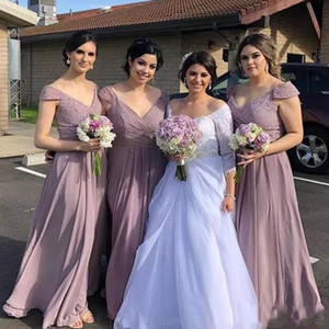 Onur Elbiseler Akşam Wear Plus Size Düğün Misafir törenlerinde Ülke Gelinlik Modelleri V Yaka ucuz şifon Hizmetçi