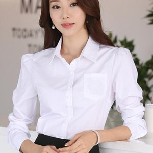 New 2020 Social Autumn White Office Shirts Plus Size Blouses For Women 2xl 3xl 4xl Blusas Femininas Ladies Work Tops A483
