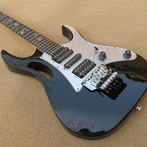Guitare électrique poignée de couleur noire Monkey cavité tremolo griffe du Lion Arbre de vie inlay Chrome Quincailleries Livraison gratuite
