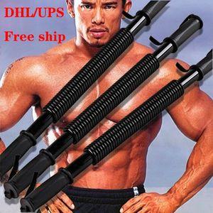 Free Ship Black Arm Rod Spring Steel Exerciser Power Wrist Hand Gripper Strengths Men Fitness Hand Grippers Chest Expansion Hand Grippers
