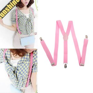 Nibesser Y-Shape Adjustable Suspenders Men Women Clip-on Elastic Braces Candy Color Solid Suspenders Fashion Clothes Collocation