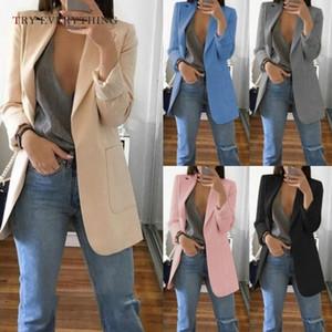 Blazer rose Femmes Longues Dames Blazers et vestes Blazers Noires Femmes manches longues Plus Taille Blazer pour femmes American Femme 2019 V191111
