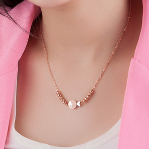 Temperament frosted small fish necklace 18K rose gold plated women's short chain color gold choker New Year gift