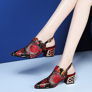 2020 High Heels Sandals Woman Mesh Summer Shoes Women Pumps Pointed toe Ankle Buckle Strap Ethnic Embroidery Flower Handmade Y200702