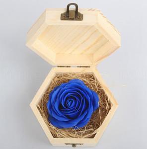 عيد الحب زهرة الحالية مع الخشب مربع عشاق الزفاف هدايا صابون زهرة صندوق خشبي الديكور هدية LJJK19074